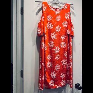 Loft orange and white cold shoulder dress